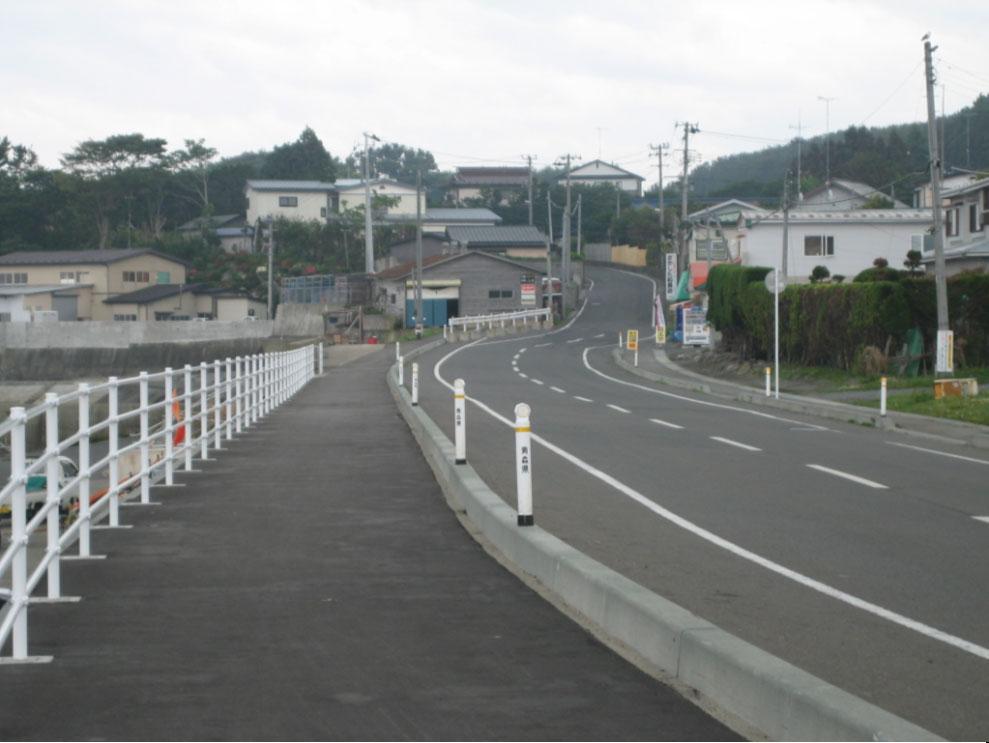 復旧後の追越地区:県道八戸階上線